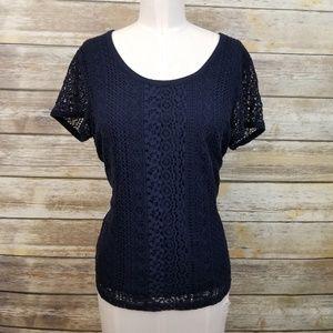 Nine West Navy Blue Lace Crochet Blouse LARGE